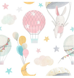 Watercolor cute ba pattern vector