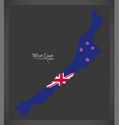 West coast new zealand map with national flag vector