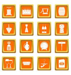 wine icons set orange vector image