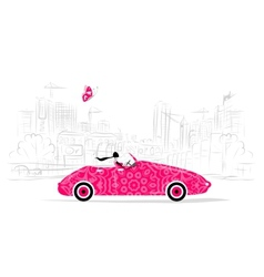 Woman driving car for your design vector image