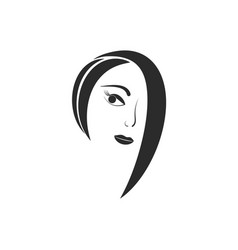 women hair style icon woman face silhouette vector image