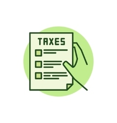 Hand holding tax form green icon vector