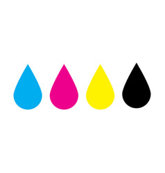 ink drops in cmyk colors - cyan magenta yellow vector image