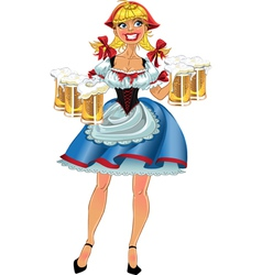 Octoberfest blond girl with beer vector image