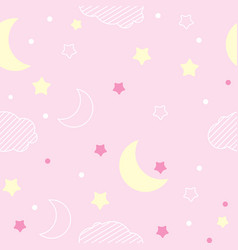 pink pattern night pattern moon and stars vector image