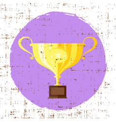 trophy cup flat icon with star with grunge vector image