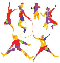 isolated colorful silhouettes of kids jumping vector image vector image