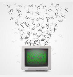 monitor with flying letters vector image