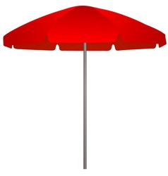 red beach umbrella on white background vector image vector image