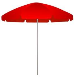 Red beach umbrella on white background vector