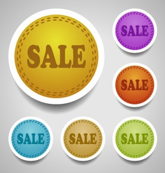 Sale stitched labels vector image vector image