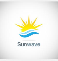 sun solar wave logo vector image