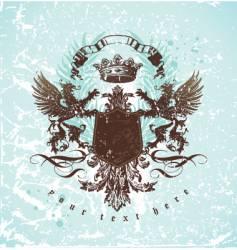 vintage emblem with griffins vector image vector image