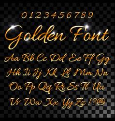 calligraphic golden letters vintage elegant gold vector image
