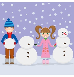 Children and snowmen vector image