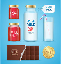 realistic product with milk vector image
