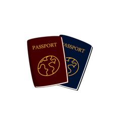 two cartoon passports travel documents vector image