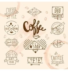 Vintage retro coffee labels vector image
