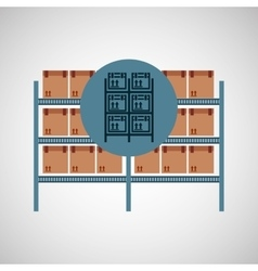 warehouse boxes on racks icon vector image