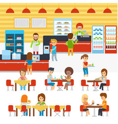 cafeteria people in canteen people eating vector image vector image