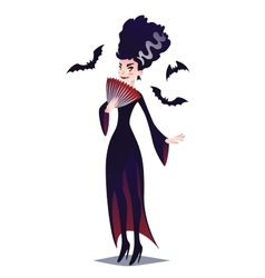 Cute Vampire lady with fan and bats vector image vector image