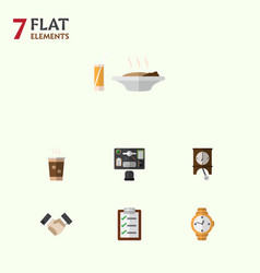 flat icon life set of bureau timer clock and vector image vector image