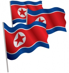 North Korea 3d flag vector image