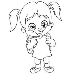 outlined schoolgirl vector image vector image