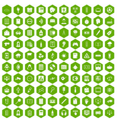 100 information icons hexagon green vector