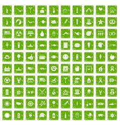 100 summer holidays icons set grunge green vector image
