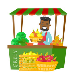 African street seller with fruits and vegetables vector