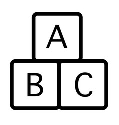 Alphabet cubes line icon educational toy vector