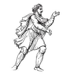 Anglo-saxon peasant atre vintage engraving vector