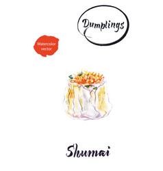 asian dumpling shumai watercolor vector image