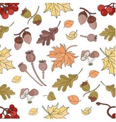 autumn rawberry nature seamless pattern ill vector image