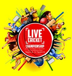 batsman and bowler playing cricket championship vector image