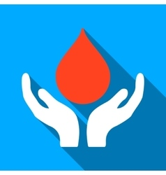 Blood Donation Hands Flat Long Shadow Square Icon vector