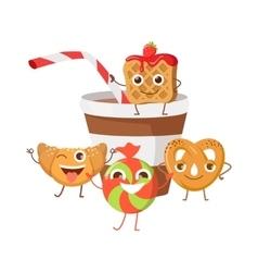 Bon Appetit Funny Cartoon Characters Banner vector