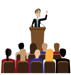 Businessman public speaking vector