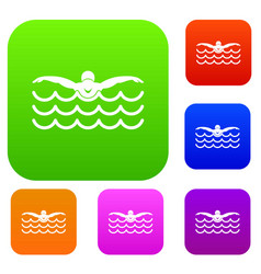 butterfly swimmer set collection vector image vector image