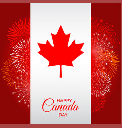 Canada flag with fireworks for national day of vector