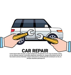 Car service and repair concept with hand holding vector