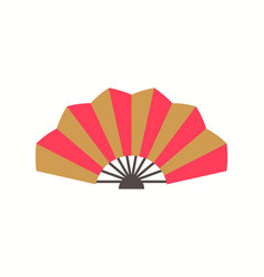 Chinese folding fan with red and gold color vector