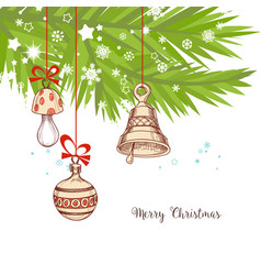 christmas background pine tree vector image vector image