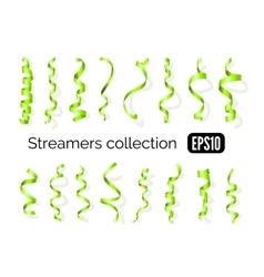 Collection of green streamers and party ribbons vector image