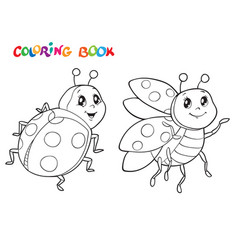Coloring book with ladybug vector