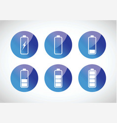 colourful battery charging levels icon set vector image