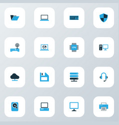Computer icons colored set with diskette pc hard vector