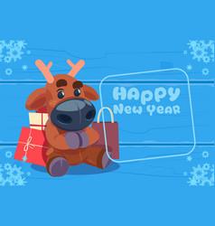 cute deer on happy new year greeting card vector image