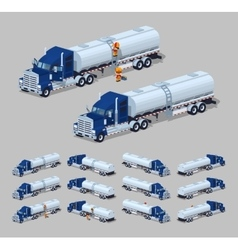 Dark-blue heavy truck with silver tank-trailer vector